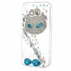 Rhinestone Fox Style Protective Plastic Back Case for Iphone 4 / 4s - Transparent + Blue