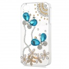 Rhinestone Butterfly Style Protective Plastic Back Case for Iphone 4 / 4s - Transparent + Blue