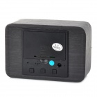 Stylish Blue LED Display Voice Control Desktop Wooden Clock - Black (3 x AAA)