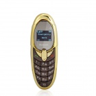 "X5 Bluetooth V2.0 GSM Bar Phone Compatible with Iphone and Ipad w/ 0.65"" FM - Brown + Golden"