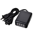 AC Charging Adapter Charger w/ 4-Port USB - Black
