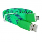 Nylon Woven Micro USB Male to USB 2.0 Male Data Sync / Charging Cable for Samsung / HTC - Green