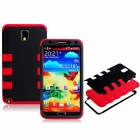 Robot Design Silicone + Plastic Back Case for Samsung Galaxy Note 3 N9000 - Red + Black