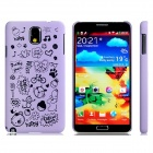 Letter + Cartoon Pattern Protective Plastic Back Case for Samsung Galaxy Note 3 N9000 N9005 - Purple