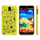 Letter + Cartoon Pattern Plastic Back Case for Samsung Galaxy Note 3 N9000 - Yellowish Green