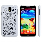Letter + Cartoon Pattern Protective Plastic Back Case for Samsung Galaxy Note 3 N9000 N9005 - White