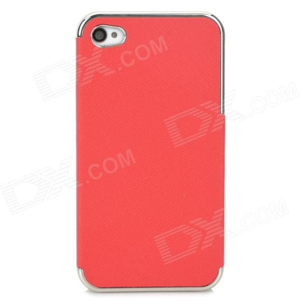 ZZ001 Protective PU Leather + PC Back Case for Iphone 4 / 4s - Red + Silver брюки шорты puma шорты вратарские puma gk shorts 701919411