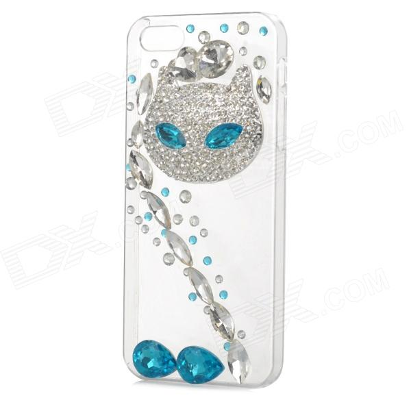 Rhinestone Fox Style Protective Plastic Back Case for Iphone 5 / 5s - Transparent + Blue protective alloy horse decoration rhinestone studded back case for iphone 5 white transparent