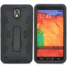 Protective Plastic + Silicone Back Case w/ Holder for Samsung Note 3 N9000 - Black