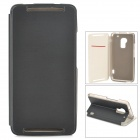 Stylish Flip-open PU Leather Case w/ Card Slot + Holder for HTC One Max (T6) - Black