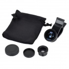 Universal Clip 0.67X Fish Eye Lens + Wide Angle / Macro Lens Set for Cell Phone / Pad
