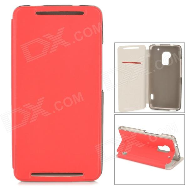 Stylish Flip-open PU Leather Case w/ Card Slot + Holder for HTC One Max (T6) - Red аксессуар чехол htc u ultra brosco silicone transparent htc uu tpu transparent