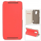 Stylish Flip-open PU Leather Case w/ Card Slot + Holder for HTC One Max (T6) - Red