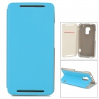 Stylish Flip-open PU Leather Case w/ Card Slot + Holder for HTC One Max (T6) - Sky Blue