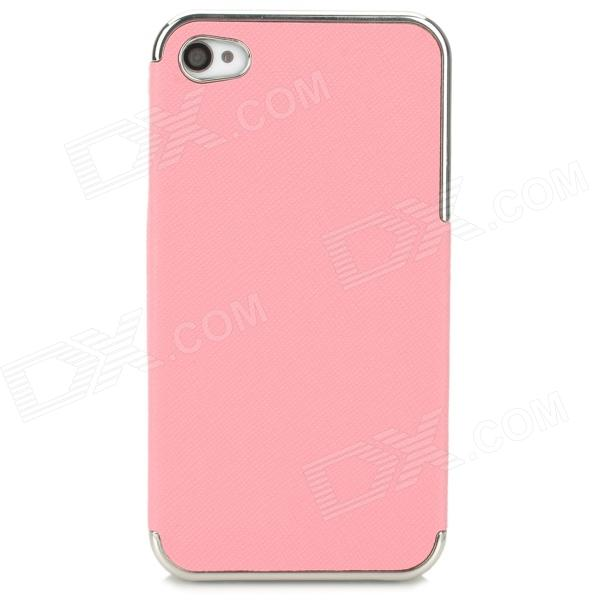 ZZ001 Stylish PU + PC Back Case for Iphone 4 / 4s - Pink + Silver
