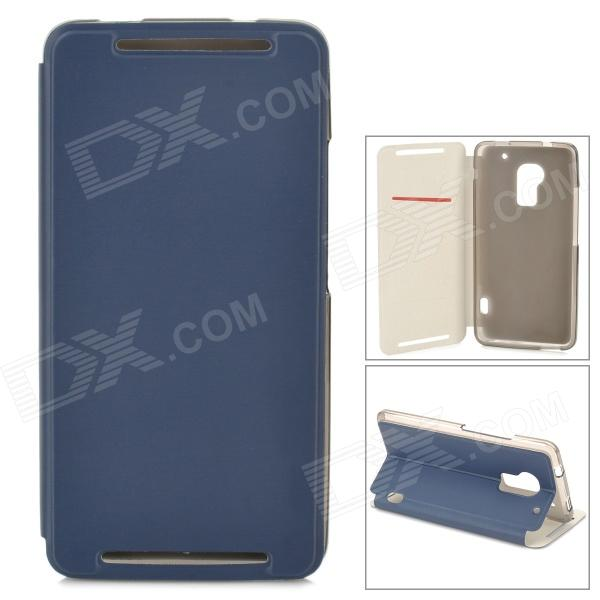 Stylish Flip-open PU Leather Case w/ Card Slot + Holder for HTC One Max (T6) - Deep Blue