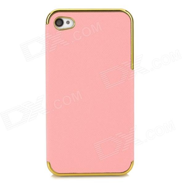 ZZ001 Protective PU Leather + PC Back Case for Iphone 4 / 4s - Pink + Golden