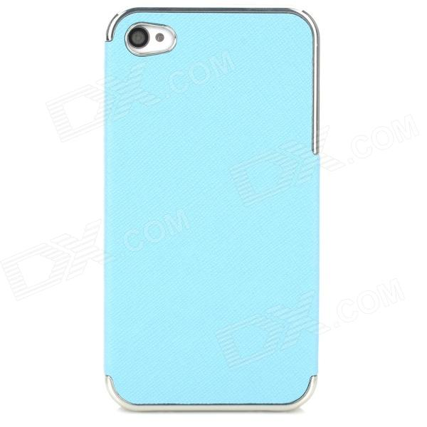 ZZ001 Protective PU Leather + PC Back Case for Iphone 4 / 4s - Blue + Silver