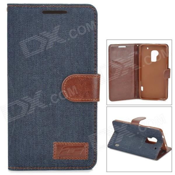 Stylish Flip-open Denim Texture PU Leather Case w/ Holder for HTC One Max T6 - Deep Blue + Brown 3200mah backup battery case w holder for htc one m7 801e black