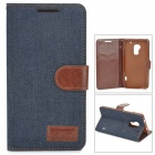 Stylish Flip-open Denim Texture PU Leather Case w/ Holder for HTC One Max T6 - Deep Blue + Brown