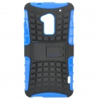 Stylish Protective TPU + PC Back Case w/ Holder for HTC One Max (T6) - Black + Blue