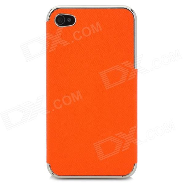 ZZ001 Protective PU Leather + PC Back Case for Iphone 4 / 4s - Orange + Silver