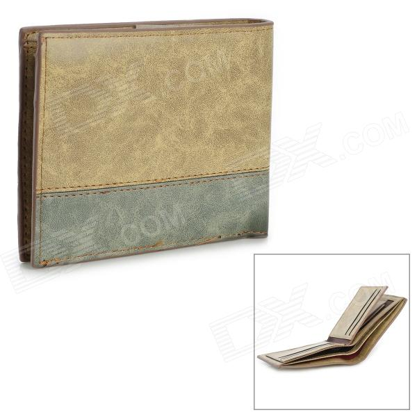 Stylish Folding Split Leather Short Wallet for Men - Light Green + Light Brown