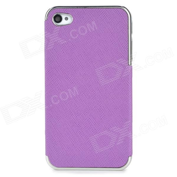 ZZ001 Protective PU Leather + PC Back Case for Iphone 4 / 4s - Purple + Silver цена