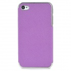 ZZ001 Protective PU Leather + PC Back Case for Iphone 4 / 4s - Purple + Silver