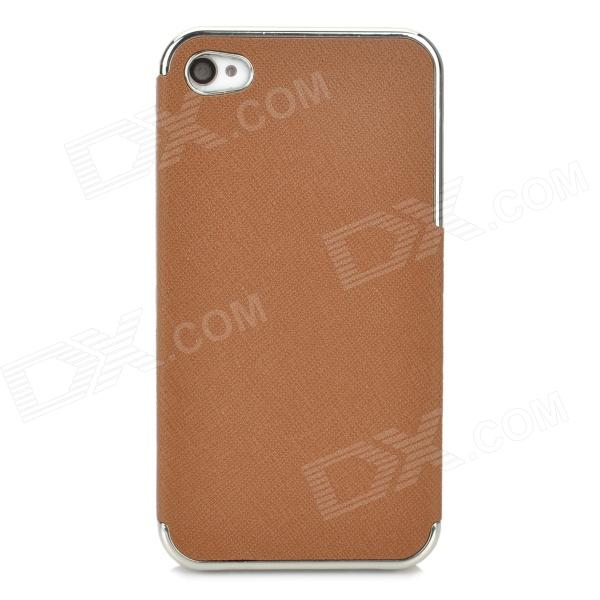 ZZ001 Protective PU Leather + PC Back Case for Iphone 4 / 4s - Brown + Silver
