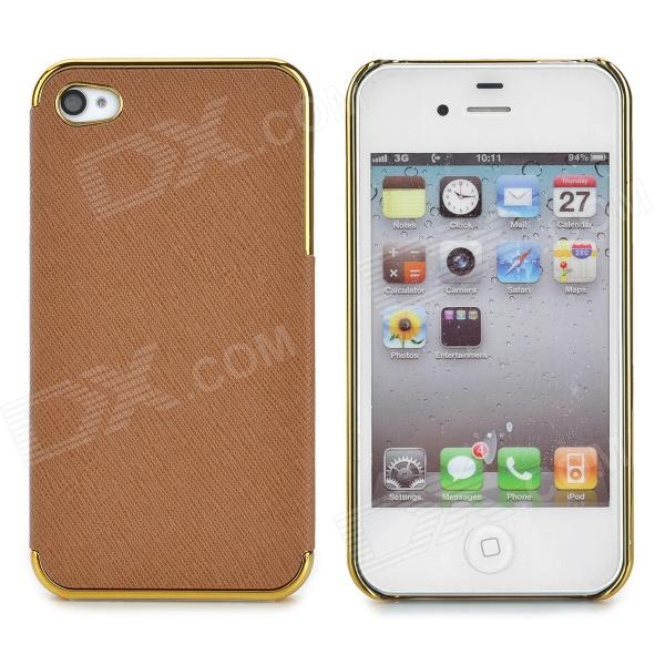 ZZ001 Protective PU Leather + PC Back Case for Iphone 4 / 4s - Brown + Golden цена