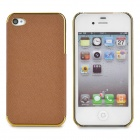 ZZ001 Protective PU Leather + PC Back Case for Iphone 4 / 4s - Brown + Golden