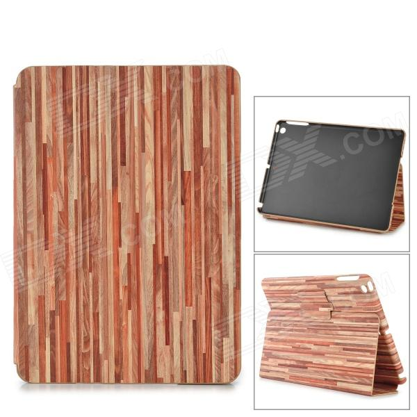 Wood Pattern Protective PU Full Body Case w/ Stand / Auto-Sleep for Ipad AIR - Dark Red + Pink wood pattern protective pu full body case w stand auto sleep for ipad air dark red pink