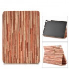 Wood Pattern Protective PU Full Body Case w/ Stand / Auto-Sleep for Ipad AIR - Dark Red + Pink