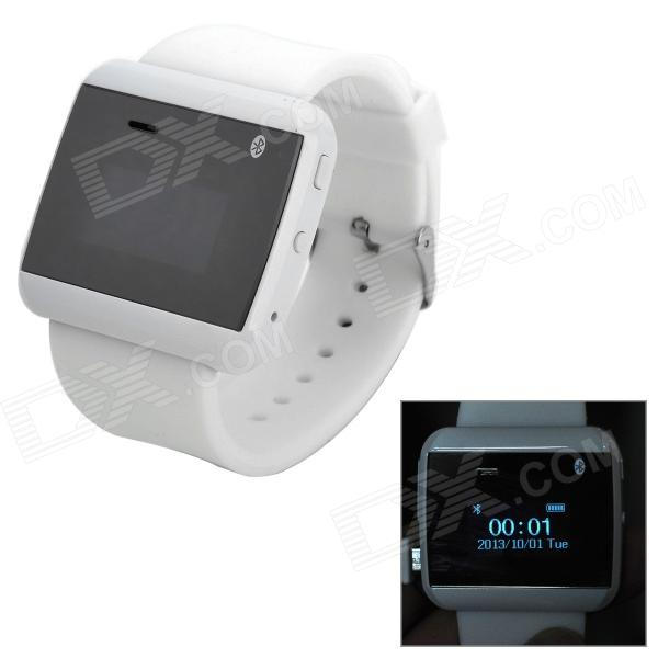 1 LCD Bluetooth V3.0 Smart Wrist Watch w/ Calendar / Stopwatch for Cellphones - White + Black