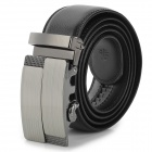 PD602 Split Leather + Aluminum Alloy Automatic Buckle Waist Belt for Men - Black (125cm)
