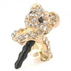 Cute Shiny Crystal-inlaid Koala Style Ornament Universal 3.5mm Jack Anti-dust Plug for Cellphone
