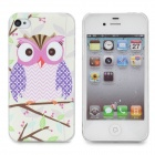 Owl Pattern Protective Plastic Back Case for Iphone 4 / 4s - White + Light Pink