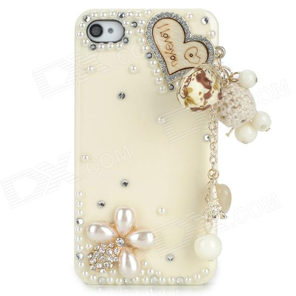Love Heart Style Protective Rhinestone + Resin Back Case for Iphone 4 / 4s - Beige protective heart shape rhinestone decoration back case for iphone 5 brown