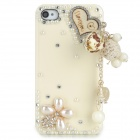 Love Heart Style Protective Rhinestone + Resin Back Case for Iphone 4 / 4s - Beige