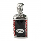 Key Chain Style USB 2.0 Flash Drive - Black + Silver + Red (16GB)