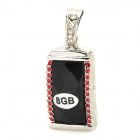 Stylish Crystal Pendant USB 2.0 Flash Drive  - Black + Silver + Red (8GB)