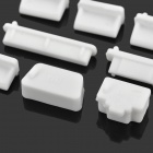 Universal Laptop Silicone Anti-Dust Plugs - White (13 PCS)
