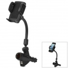 H-08308 Convenient Phone / GPS Holder w/ Car Cigarette Lighter + Dual Female USB Output - Black