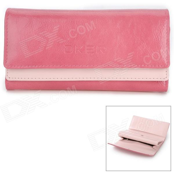 Fashion Long Shaped Dual-Cover PU Wallet for Women - Pink