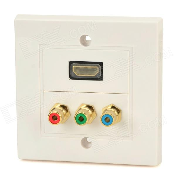 HDMI + Video Audio Wall Mounted Socket Panel - White + Coffee + Multicolored white square wall mounted three phase four wire outlet socket plate 380vac 25a