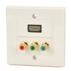 HDMI + Video Audio Wall Mounted Socket Panel - White + Coffee + Multicolored