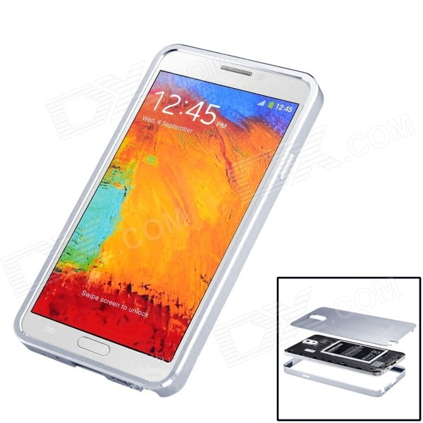 Protective Brushed Titanium Alloy Bumper Frame w/ Back Cover for Samsung Galaxy Note 3 - Silver