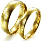 GJ320 The Lord Of The Rings 316L Stainless Steel Couple's Rings - Golden (Size 9 + 7 / 2 PCS)