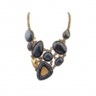 Euramerican Vintage Geometrical Zinc Alloy + Resin Women's Necklace - Black + Golden